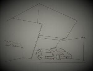 図-01奇抜なデザインと質量感の住宅
