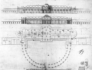 1744年作成のサンスーシ宮殿平面図